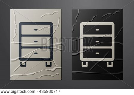 White Archive Papers Drawer Icon Isolated On Crumpled Paper Background. Drawer With Documents. File