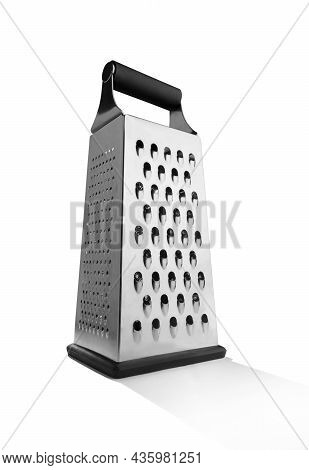 Metal Grater With Black Handle Isolated On White Background With Copy Space