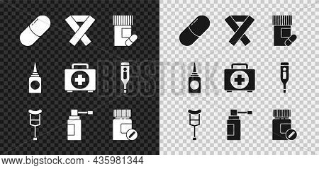Set Medicine Pill Or Tablet, Awareness Ribbon, Bottle And Pills, Crutch Crutches, Medical With Nozzl