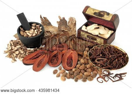Traditional Chinese apothecary herbs and spice ingredients used in natural holistic preventative herbal plant medicine healing remedies. On white background.