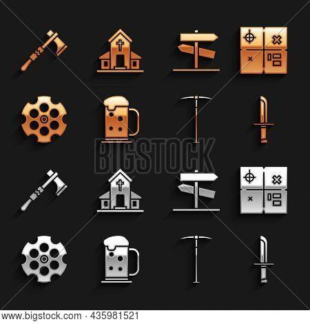 Set Wooden Beer Mug, Treasure Map, Military Knife, Pickaxe, Revolver Cylinder, Road Traffic Signpost