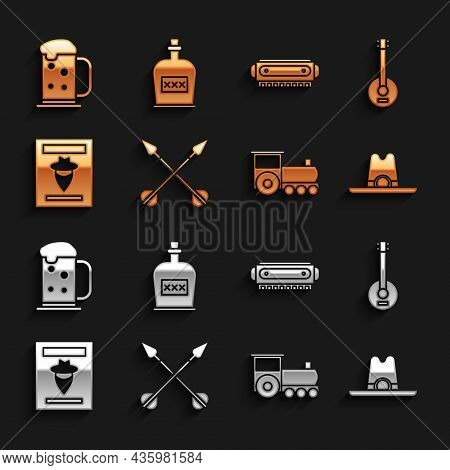 Set Crossed Arrows, Banjo, Western Cowboy Hat, Retro Train, Wanted Western Poster, Harmonica, Wooden