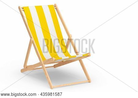 Yellow Striped Beach Chair For Summer Getaways Isolated On White Background.