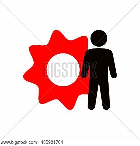 Simple Minimalistic Man With Red Gear Or Person Silhouette Black Line Icon. Business Technology Conc