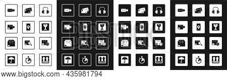 Set Headphones, Mobile With App Delivery Tracking, Cardboard Box Traffic Symbol, Envelope, Fragile B