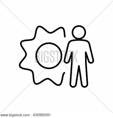Simple Minimalistic Man With Gear Or Person Silhouette Black Line Icon. Business Technology Concept.