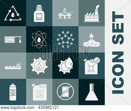 Set Oil Petrol Test Tube, Bio Fuel Canister, Alcohol Or Spirit Burner, Platform In The Sea, Atom, Ga