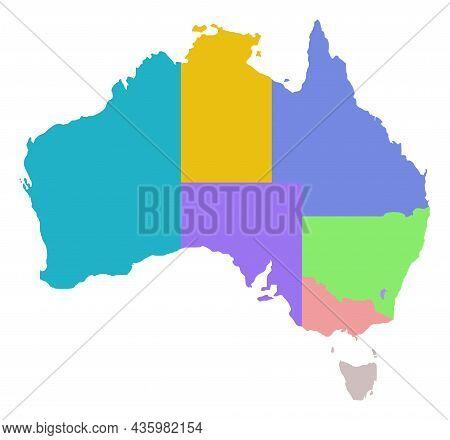 Vector Australia Region Map Illustration. An Isolated Illustration Of Australia Region Map.