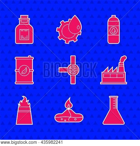 Set Industry Pipes And Valve, Alcohol Or Spirit Burner, Oil Petrol Test Tube, Industrial Factory Bui