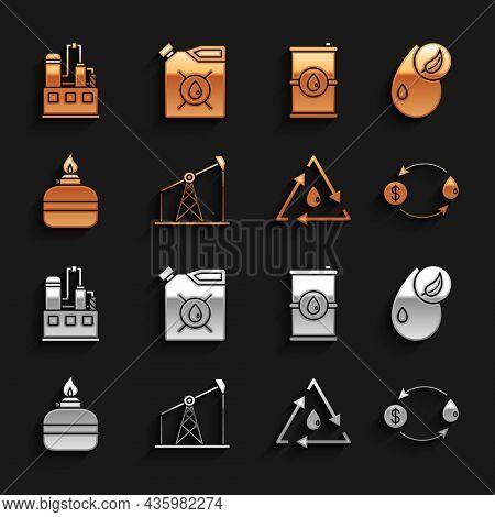 Set Oil Pump Or Pump Jack, Bio Fuel, Exchange, Drop With Recycle, Alcohol Spirit Burner, Barrel Oil,
