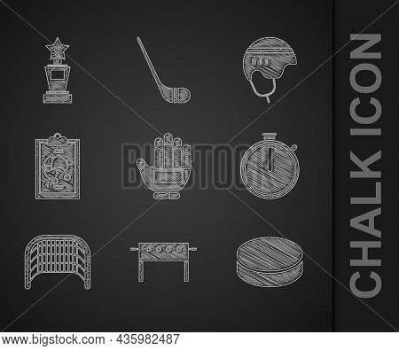 Set Hockey Glove, Table, Puck, Stopwatch, Ice Hockey Goal, Planning Strategy, Helmet And Award Cup I