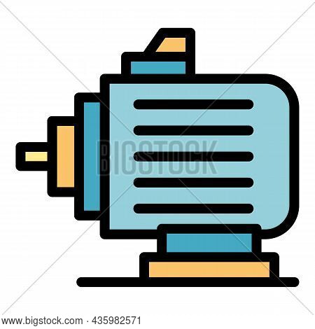 Electric Car Motor Icon. Outline Electric Car Motor Vector Icon Color Flat Isolated
