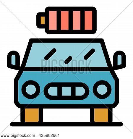 Full Battery Hybrid Car Icon. Outline Full Battery Hybrid Car Vector Icon Color Flat Isolated