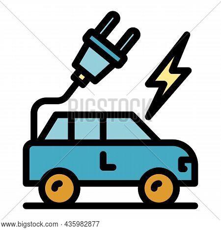 Hybrid Car Plug Icon. Outline Hybrid Car Plug Vector Icon Color Flat Isolated