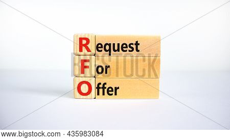 Rfo Request For Offer Symbol. Concept Words Rfo Request For Offer On Blocks On A Beautiful White Tab