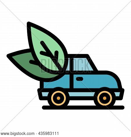 Ecology Hybrid Car Icon. Outline Ecology Hybrid Car Vector Icon Color Flat Isolated
