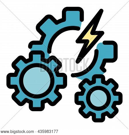 Hybrid Car Gear System Icon. Outline Hybrid Car Gear System Vector Icon Color Flat Isolated