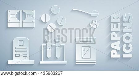 Set Test Tube And Flask, Heroin In Spoon, Tombstone With Rip Written, Cigarettes Pack Box, Medicine
