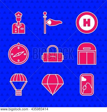 Set Suitcase, Parachute, Airplane Window, Aircraft Hangar, Box Flying On Parachute, Compass, Helicop