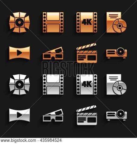 Set 3d Cinema Glasses, Cd Or Dvd Disk, Movie, Film, Media Projector, Clapper, Online Play Video, 4k