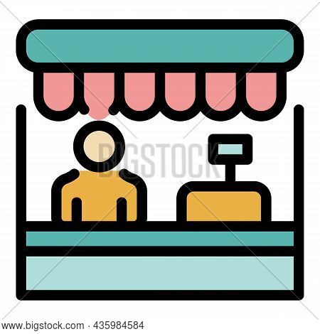Shop Assistant Icon. Outline Shop Assistant Vector Icon Color Flat Isolated