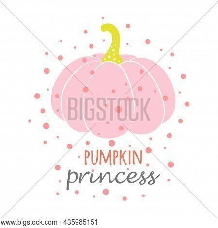 Cute Halloween Vector Pink Pumpkin Illustration, Cartoon Autumn Symbol Isolated On White Background,