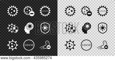 Set Virus, Negative Virus, Corona Covid-19, Shield Protecting From And Human And Icon. Vector