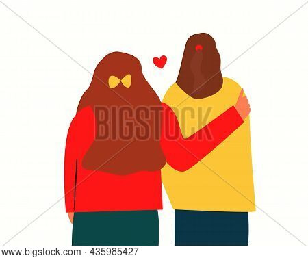 A Girl Hugs A Friend, Two Girls Stand With Their Backs. Close Friends, Two Girls Meet, Are Friends.