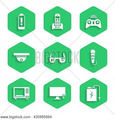 Set Smart Glasses, Tv, Power Bank With Charge Cable, Microphone, Microwave Oven, Motion Sensor, Wire