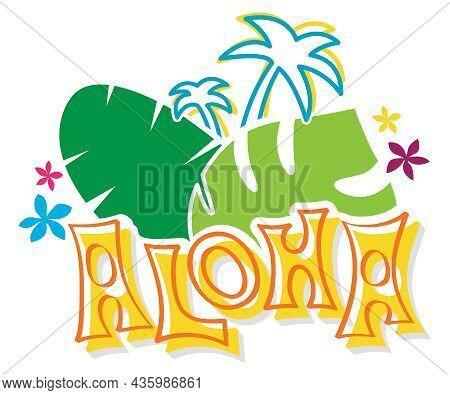 Aloha Design | Hawaiian Graphic | Tropical Clipart And T-shirt Layout