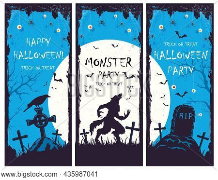 Set Of Halloween Banners With Silhouette Of Werewolf In Cemetery On Blue Background. Holiday Card Wi