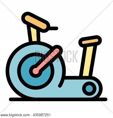 Gym Exercise Bike Icon. Outline Gym Exercise Bike Vector Icon Color Flat Isolated