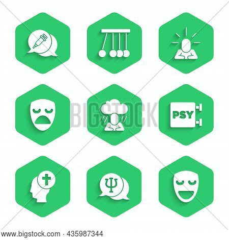 Set Depression, Psychology, Psi, Comedy Theatrical Mask, Man Graves Funeral Sorrow, Drama, And Addic