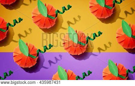 Paper Craft Autumn Pumpkins Overhead View - Flat Lay