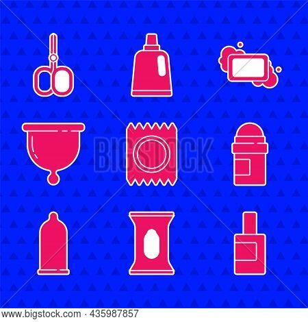 Set Condom In Package Safe Sex, Wet Wipe, Bottle For Cleaning Agent, Antiperspirant Deodorant Roll,