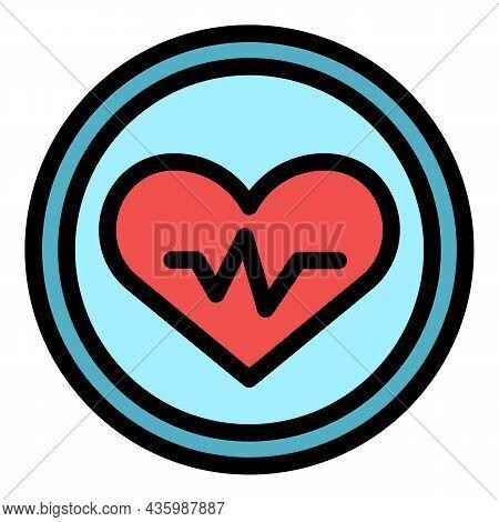 Workout Senior Healthy Heart Icon. Outline Workout Senior Healthy Heart Vector Icon Color Flat Isola