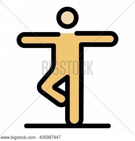 Senior Yoga Icon. Outline Senior Yoga Vector Icon Color Flat Isolated