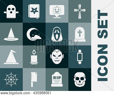 Set Skull, Candy, Tombstone With Cross, Pumpkin, Moon Stars, Witch Hat, Ghost And Funny Scary Ghost