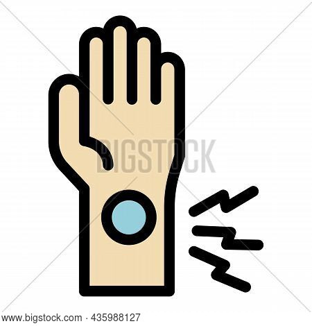 Hand Sport Injury Icon. Outline Hand Sport Injury Vector Icon Color Flat Isolated