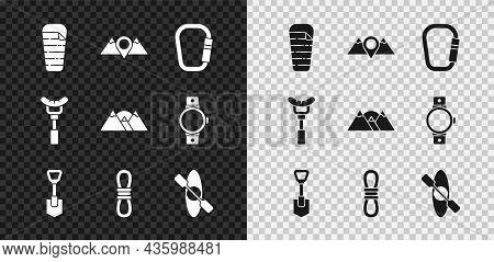 Set Sleeping Bag, Location Mountains, Carabiner, Shovel, Climber Rope, Kayak Or Canoe, Sausage The F
