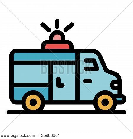 Sport Ambulance Car Icon. Outline Sport Ambulance Car Vector Icon Color Flat Isolated