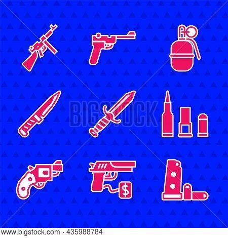 Set Military Knife, Buying Gun Pistol, Gun Magazine And Bullets, Bullet, Small Revolver, Hand Grenad