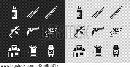 Set Weapons Oil Bottle, Bayonet Rifle, Military Knife, Hunting Shop Weapon, Hand Smoke Grenade, Pepp