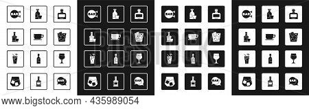 Set Whiskey Bottle, Coffee Cup, And Glass, Street Signboard With Bar, Glass Whiskey, Alcohol Drink R