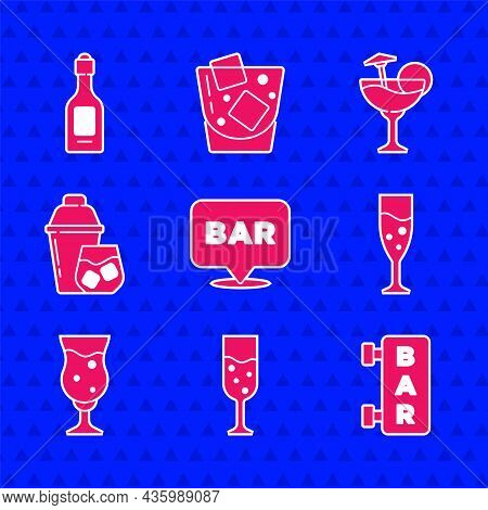 Set Alcohol Bar Location, Glass Of Champagne, Street Signboard With Bar, Beer, Cocktail Shaker, And
