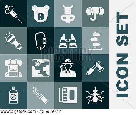 Set Mosquito, Wooden Axe, Road Traffic Sign, Hippo Or Hippopotamus, Carabiner, Flashlight, Syringe A