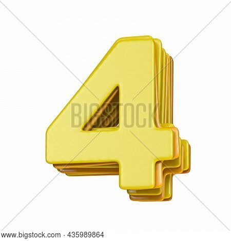 Yellow Font Number 4 Four 3d Render Illustration Isolated On White Background