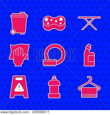 Set Washing Dishes, Bottle For Cleaning Agent, Towel On Hanger, Wet Floor, Cleaning Service, Ironing