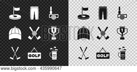 Set Golf Hole With Flag, Pants, Club Ball, Crossed Golf, Label, Bag Clubs, Baseball Cap And Icon. Ve