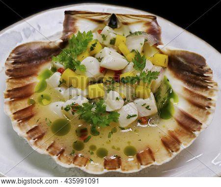 Truffle Marinated Scallop Ceviche Peruvian, Latin American Traditional Seafood Dish